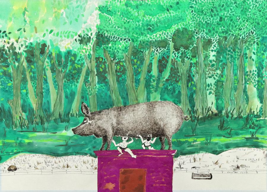 1_Cristi-Gaspar,-A-political-animal,-water-colors-on-paper,-2012